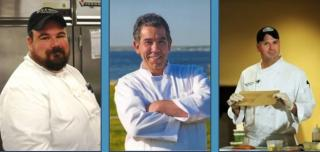 Chefs Henry Bousquet (Ice Chest), Mike Melo (M & C Café) and Peter Doire (Area Chef for Legal Seafoods)